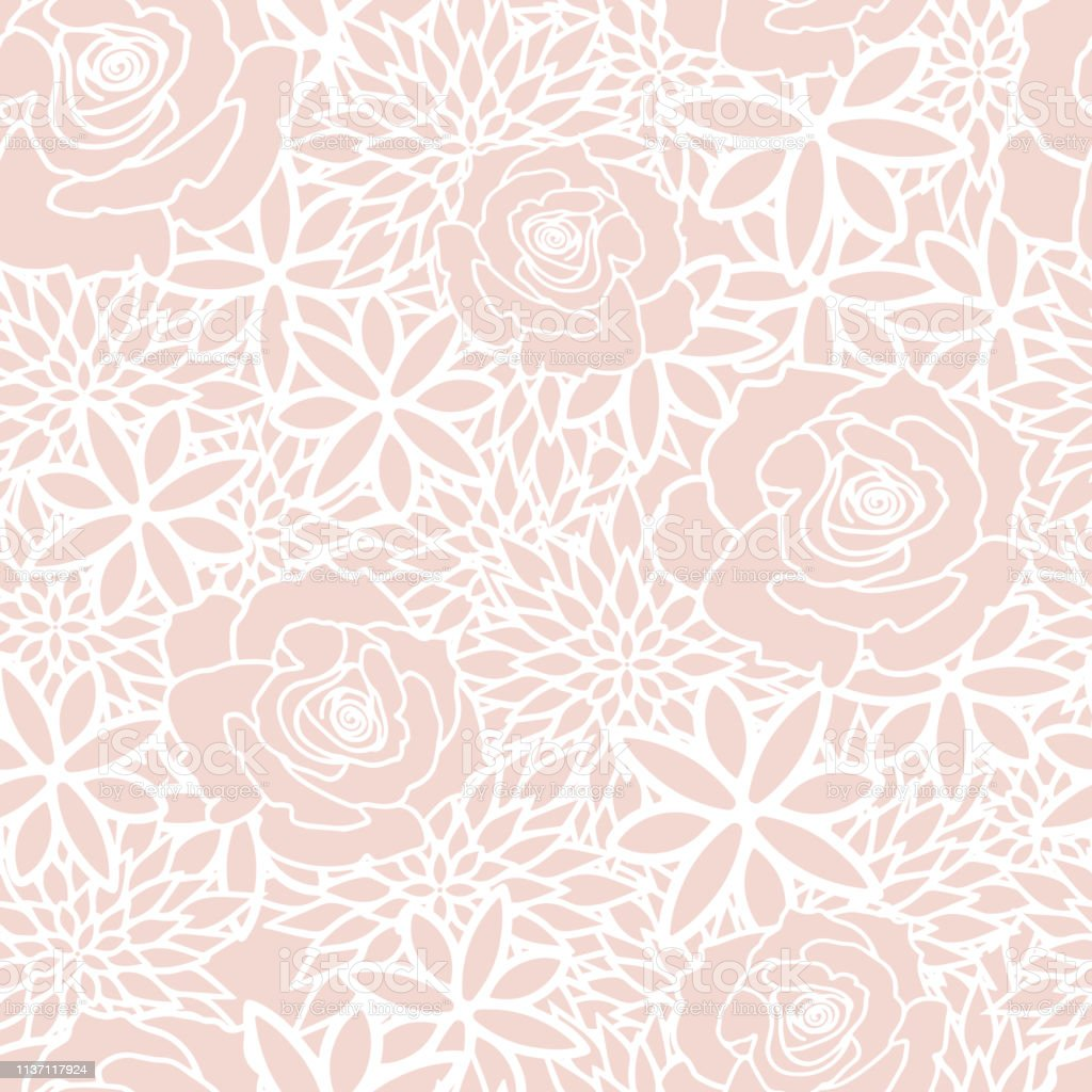 Vector Blush Floral Spring Tea Party Seamless Pattern Background