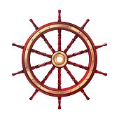 vector boat handwheel, ship wheel helm