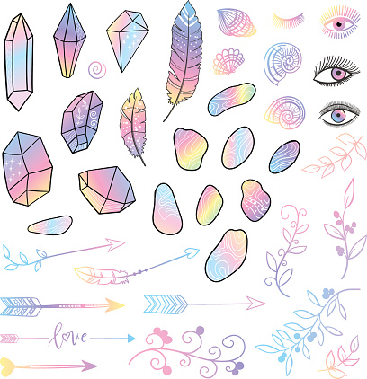 Vector boho gradient element set with hand drawn arraw, feather, eyes, shell, stone, branch.