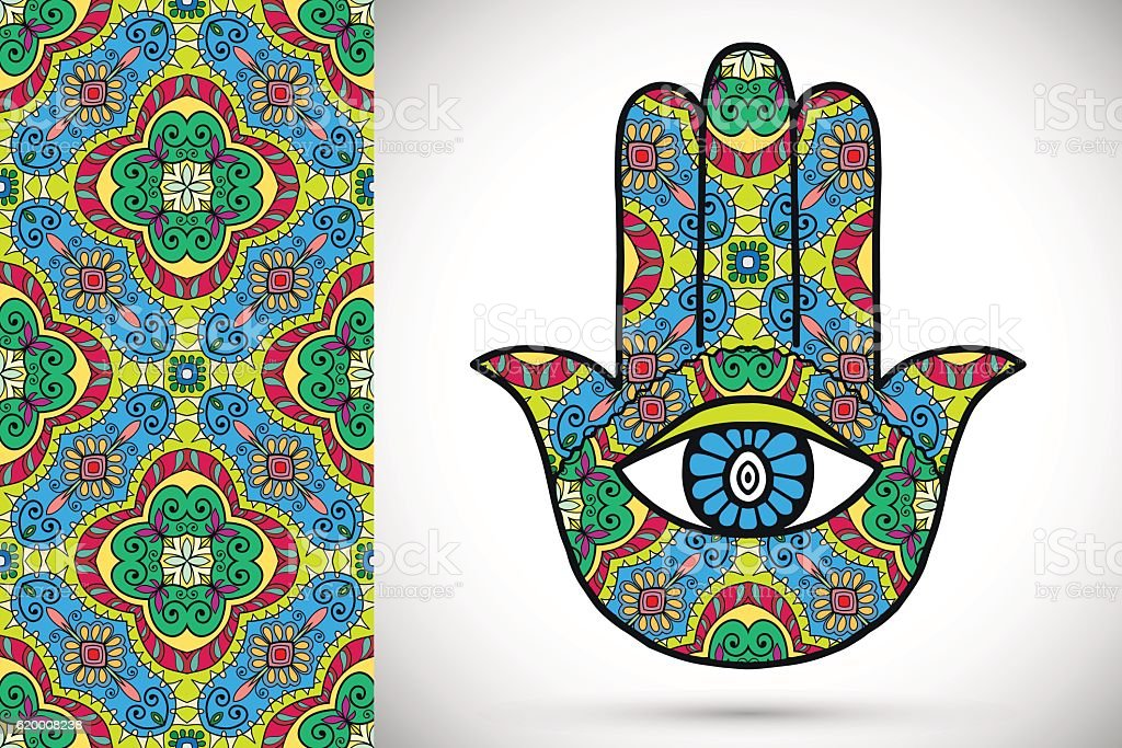vector boho hamsa hand protection amulet symbol of strength and stock  illustration - download image now - istock  istock