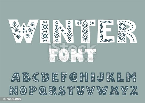 Vector bold alphabet decorated with Nordic folk ornaments.  Display font.