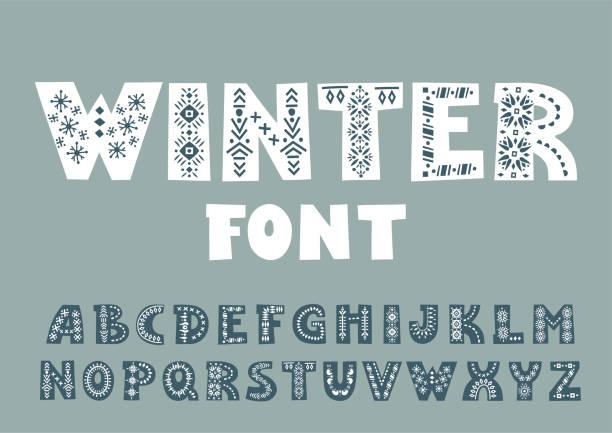 ilustrações de stock, clip art, desenhos animados e ícones de vector bold alphabet decorated with nordic folk ornaments.  display font. - hygge