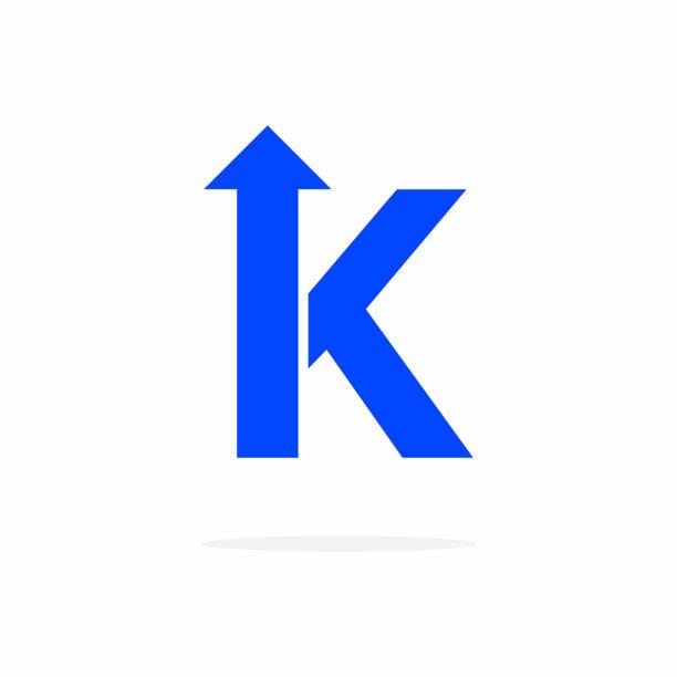 Vector Bold Arrow Logo Letter K Modern Vector Logo Letter K With Arrow. K Letter Design Vector Arrow k logo stock illustrations
