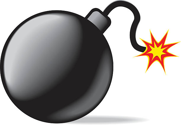 vector bomb worked by adobe illustrator... explosive fuse stock illustrations