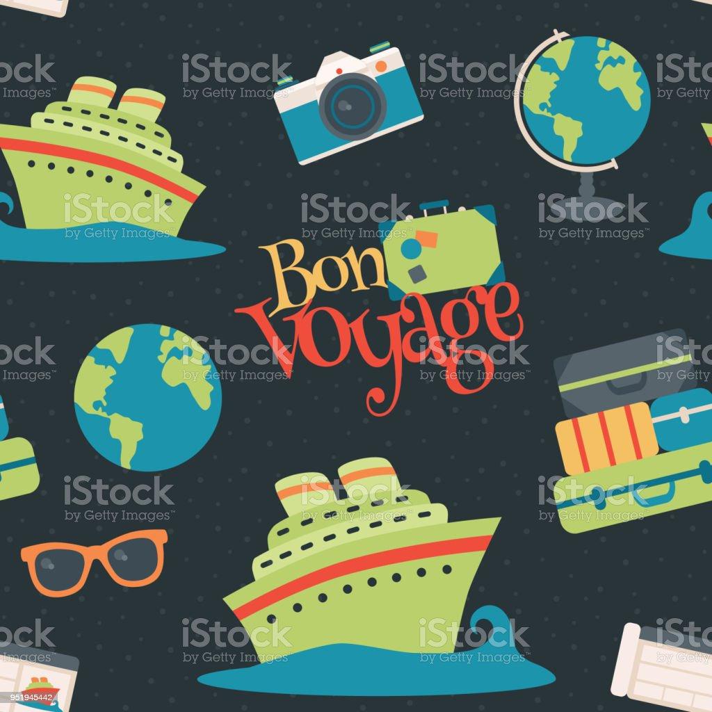Vector Bon Voyage croisière voyage marine sans soudure de fond - Illustration vectorielle