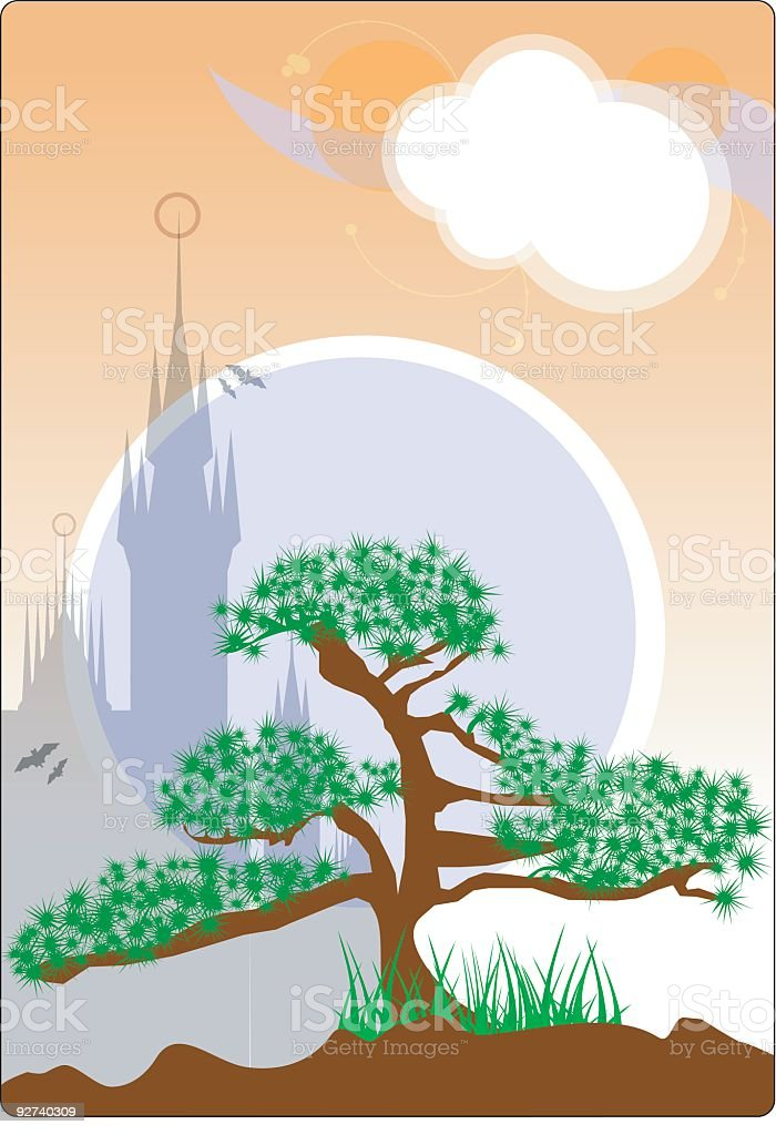 Vector Bonsai Landscape royalty-free stock vector art
