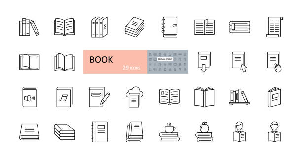 Vector book icons. Editable Stroke. Reading, library, stack of books, open, bookcase shelf. Readers, magazine, audio, coffee apple. Vector book icons. Editable Stroke. Reading, library, stack of books, open, bookcase shelf. Readers magazine audio coffee apple book icons stock illustrations