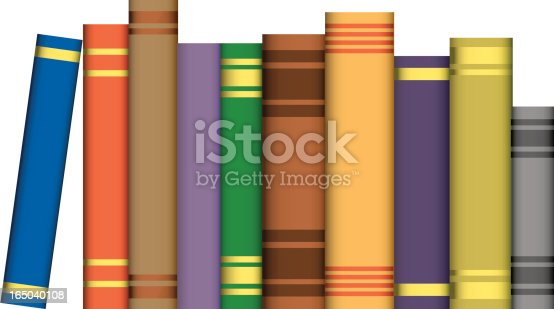 A vector illustration of some generic books showing the spine of the book.