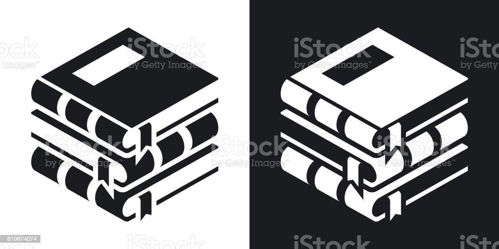 Vector Books icon. Two-tone version vector art illustration