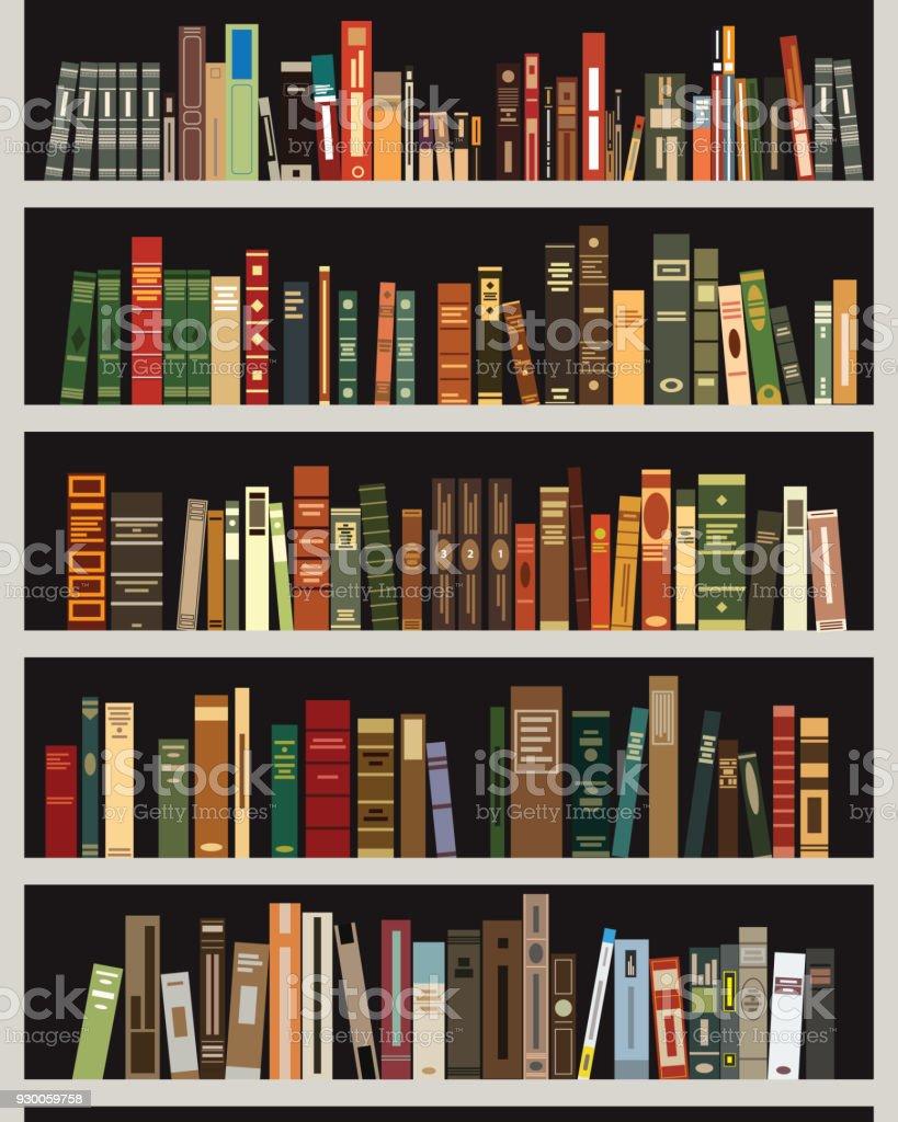 vector bookshelf vector art illustration