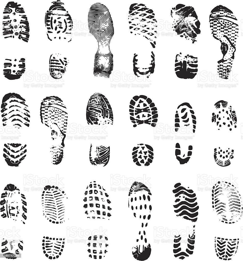 vector boot print vector art illustration