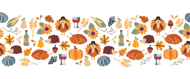 vector border thanksgiving. seamless autumn food roast turkey corn wine pumpkin family dinner greeting card repeating pattern design. harvest festival. fall party invitation banner. happy thanksgiving - thanksgiving turkey stock illustrations