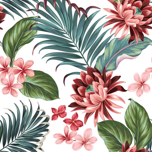 Vector botanic exotic design with large lotus, palms, frangipani, elephat ears. seamless pattern with detailed vector illustrations. plumeria stock illustrations