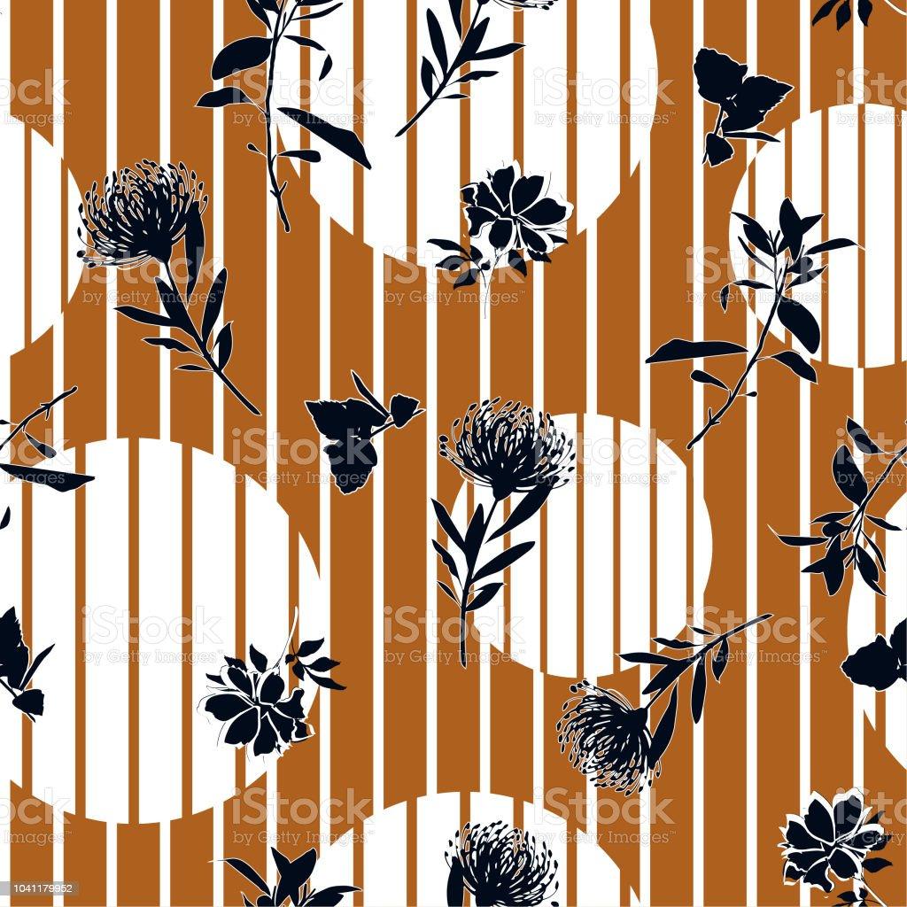 Vector silueta botánica floral de patrones sin fisuras en moderna colorida banda lunares, papel pintado de flores delicadas, papel pintado de flores silvestres - ilustración de arte vectorial