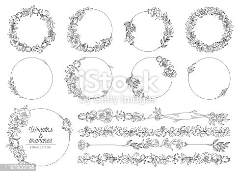 Vector botanical collection of floral and herbal wreaths. isolated vector wreath with plants, branches and flowers ink sketch design. hand drawn line art set for cards, invitations, logo, diy projects stock illustration