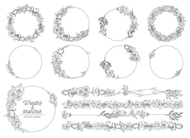 ilustrações, clipart, desenhos animados e ícones de coleção botânica do vetor de grinaldas florais e ervais. grinalda isolada do vetor com plantas, filiais e projeto do esboço da tinta das flores. mão desenhada linha de arte definida para cartões, convites, logotipo, diy projetos ilustração de açõ - papoula planta