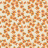 Vector abstract floral seamless pattern with daisies. Simple fantasy flowers made of small buds and petals. Glade of flowers. Flat background for textile, fabric, wrapping and surface.