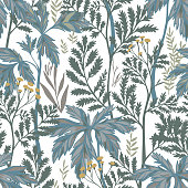 Vector botanical seamless pattern. Floral pencil drawing made of meadow flowers, foliage, stems and leaves. Nature background for fabric, textile, fashion design, surface or wrapping.