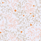 Vector botanical seamless pattern. Flat field herbs, stems and stars. Outline drawing. Delicate floral background for fabric, textile, fashion design, surface or wrapping.