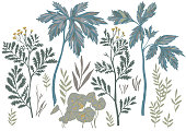 Vector botanical set isolated on white. Drawing with floral elements as meadow flowers, foliage, stems, herbs and leaves. Hand drawn nature collection.