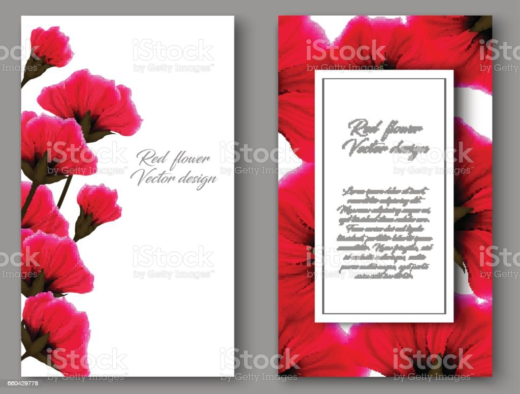 Vector Botanical Vertical Banners With Red Flower Design For Natural ...
