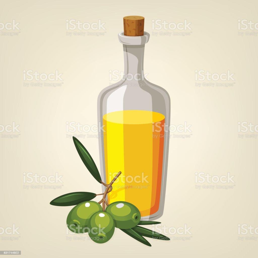 Vector bottle of olive oil with a branch of green olives. Cartoon style icon. Restaurant menu illustration. - ilustração de arte vetorial