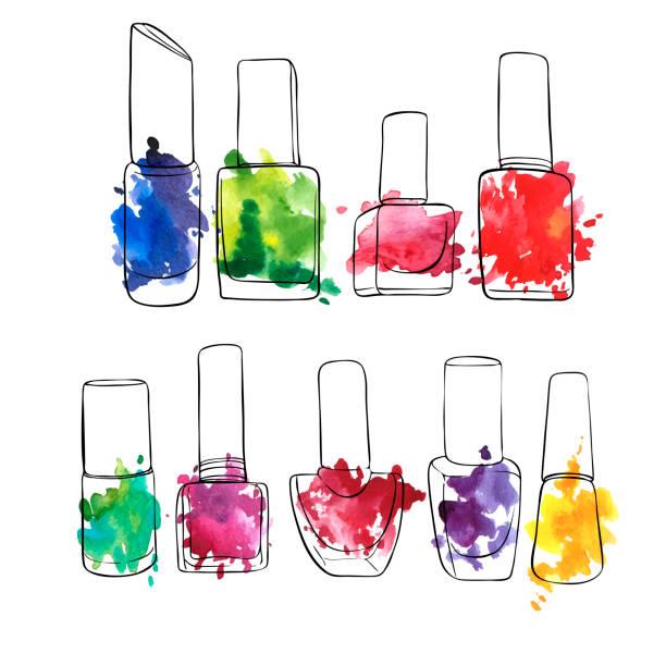 bildbanksillustrationer, clip art samt tecknat material och ikoner med vector flaskor med nagellack - emalj