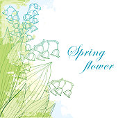 Vector bouquet with outline Lily of the valley or Convallaria flower and leaves in pastel green and blue on the white background. Ornate May bells flowers in contour style for greeting spring design.
