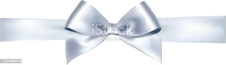 Shiny satin ribbon on white background. Vector silver bow and ribbon.