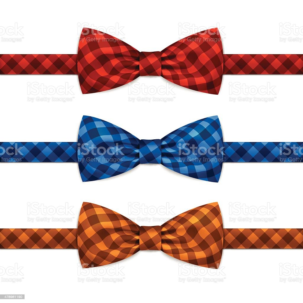 Vector Bow Tie Bowtie Set Isolated on White vector art illustration