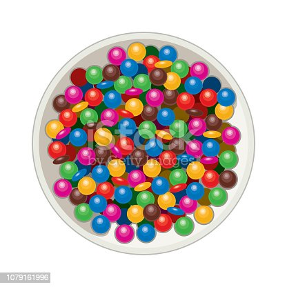 vector bowl with mm candies isolated on white background. rainbow colors and chocolate candy collection