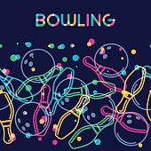 Vector bowling background with color linear bowling balls and bowling pins. Abstract multicolor illustration.
