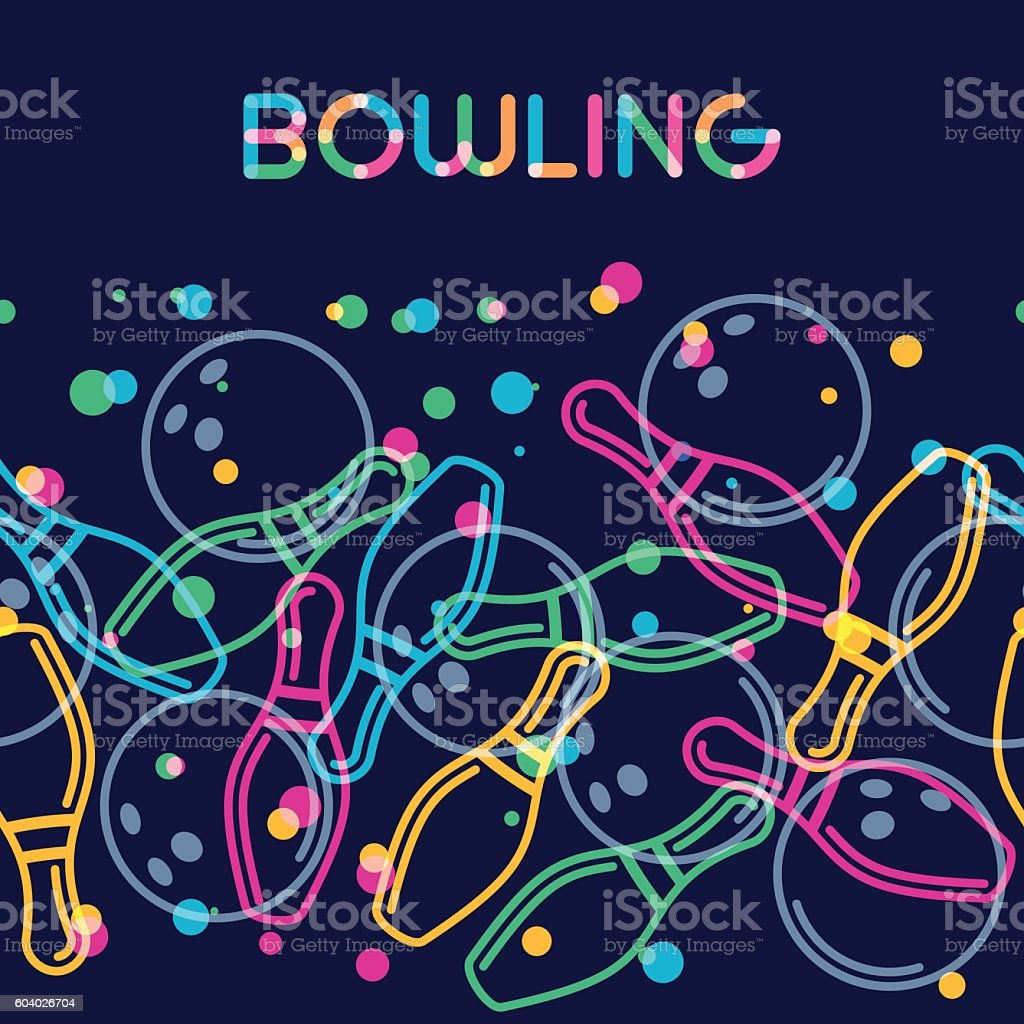 Vector bowling background with color linear bowling balls and pins. vector art illustration