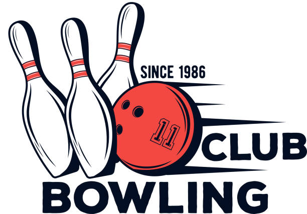Vector bowling club icon for print, design, internet on white background vector art illustration