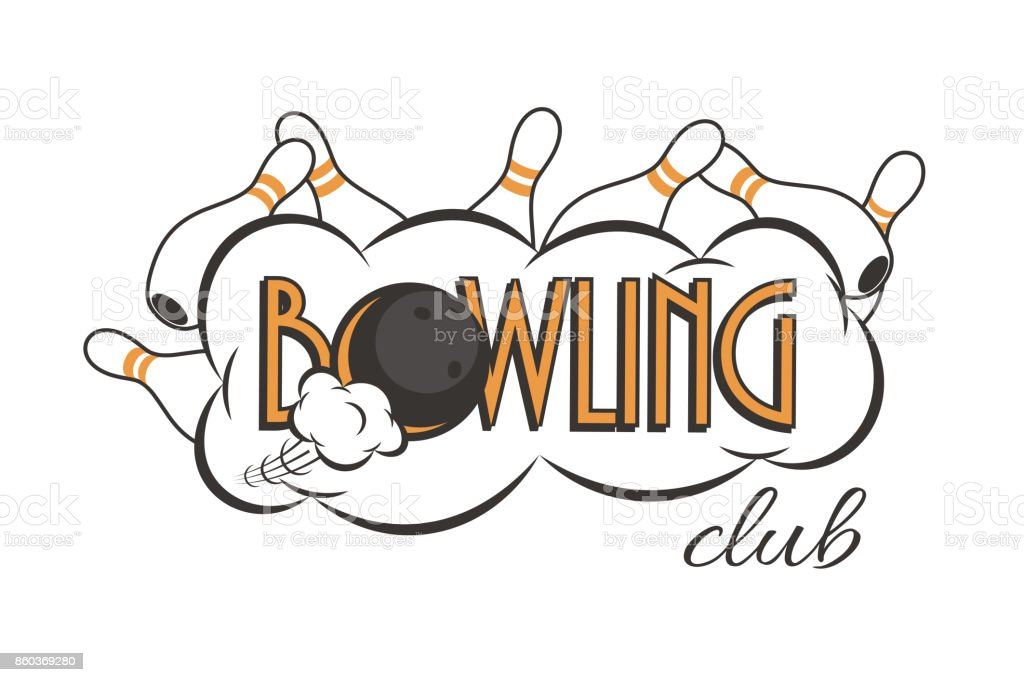 vector bowling club logo bowling strike with bowling club text stock rh istockphoto com bowling logopedia bowling logos for shirts