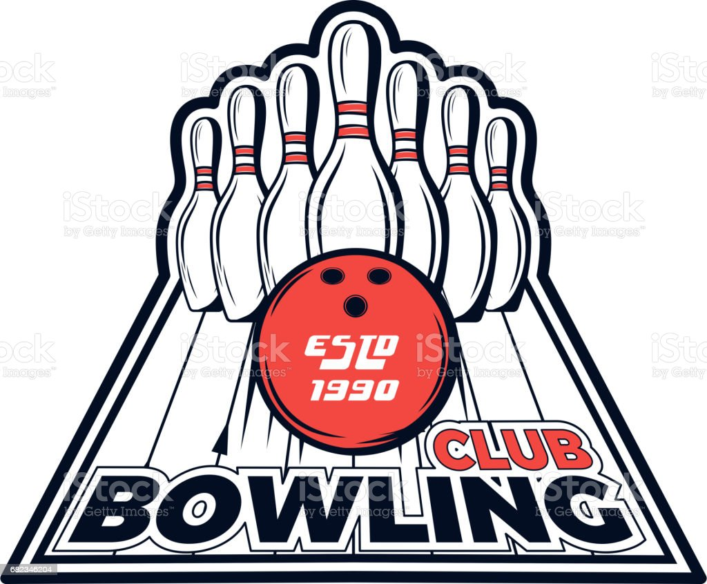 Vector bowling club logo for print, design, internet on white background vector art illustration