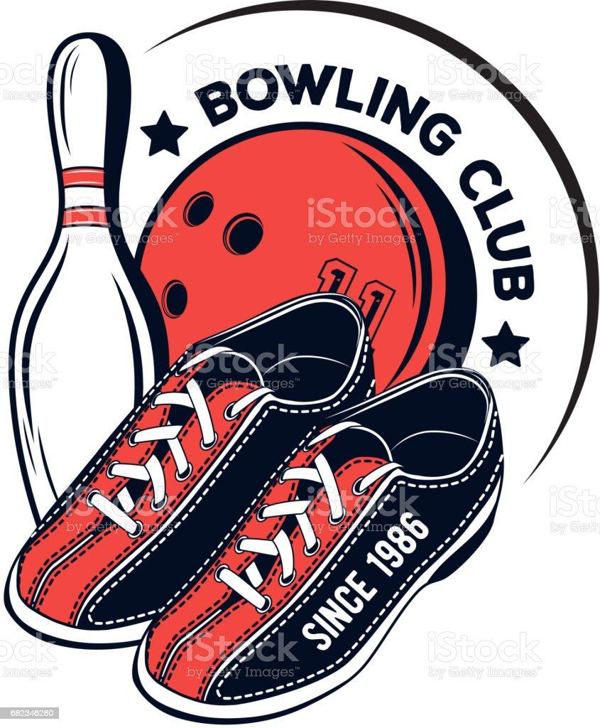 Vector bowling club logo for print, design, internet on white background vector art illustration