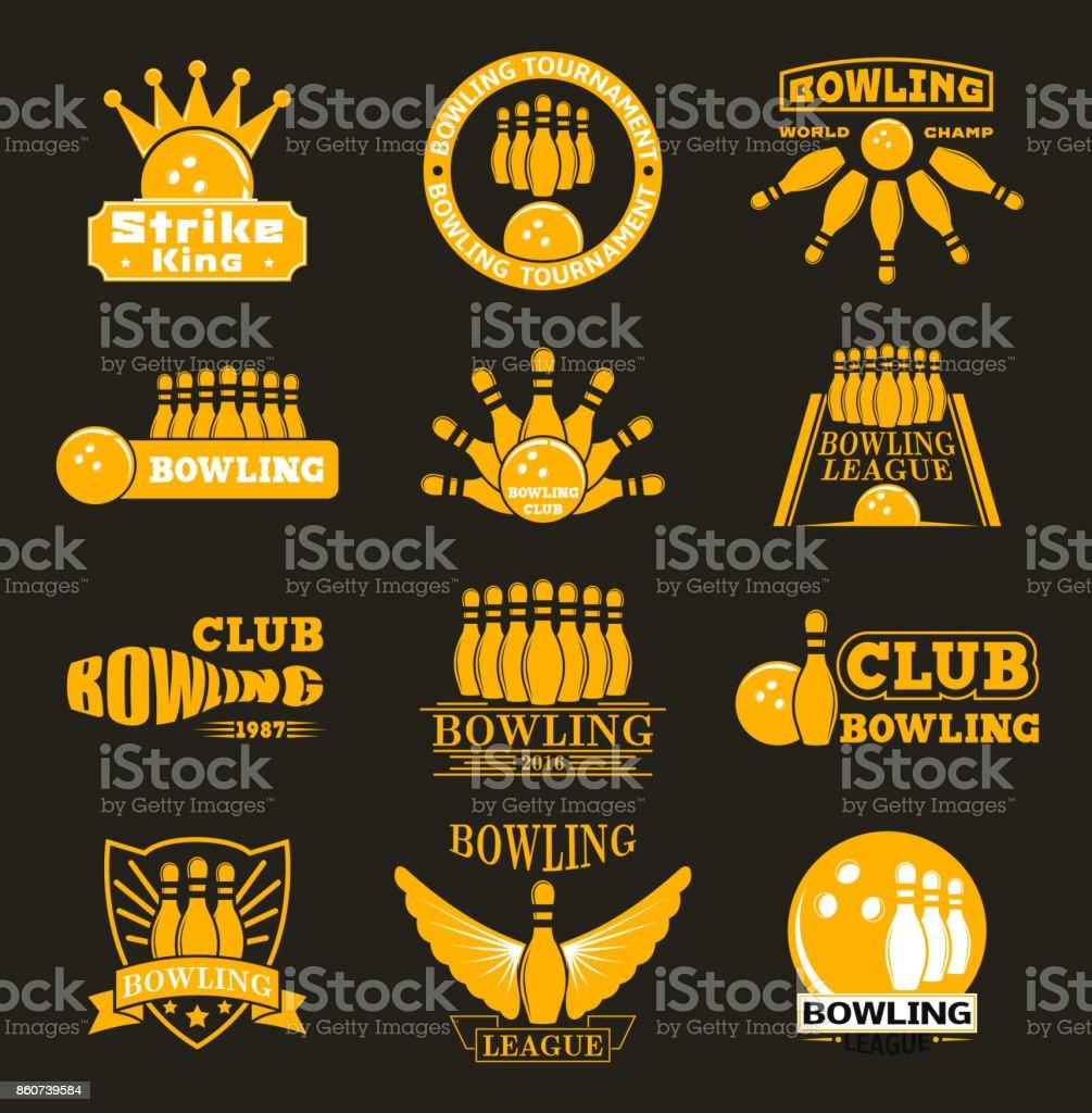 Vector bowling logo emblems vector art illustration
