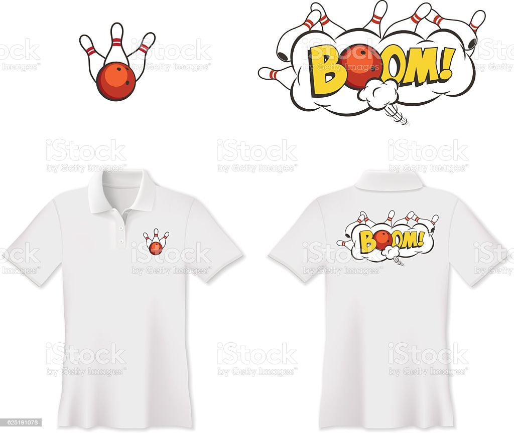 Vector bowling polo t-shirt print design. Bowling ball and skittles. vector art illustration