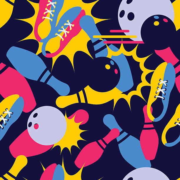 Vector bowling seamless pattern. Abstract bowling illustration. vector art illustration