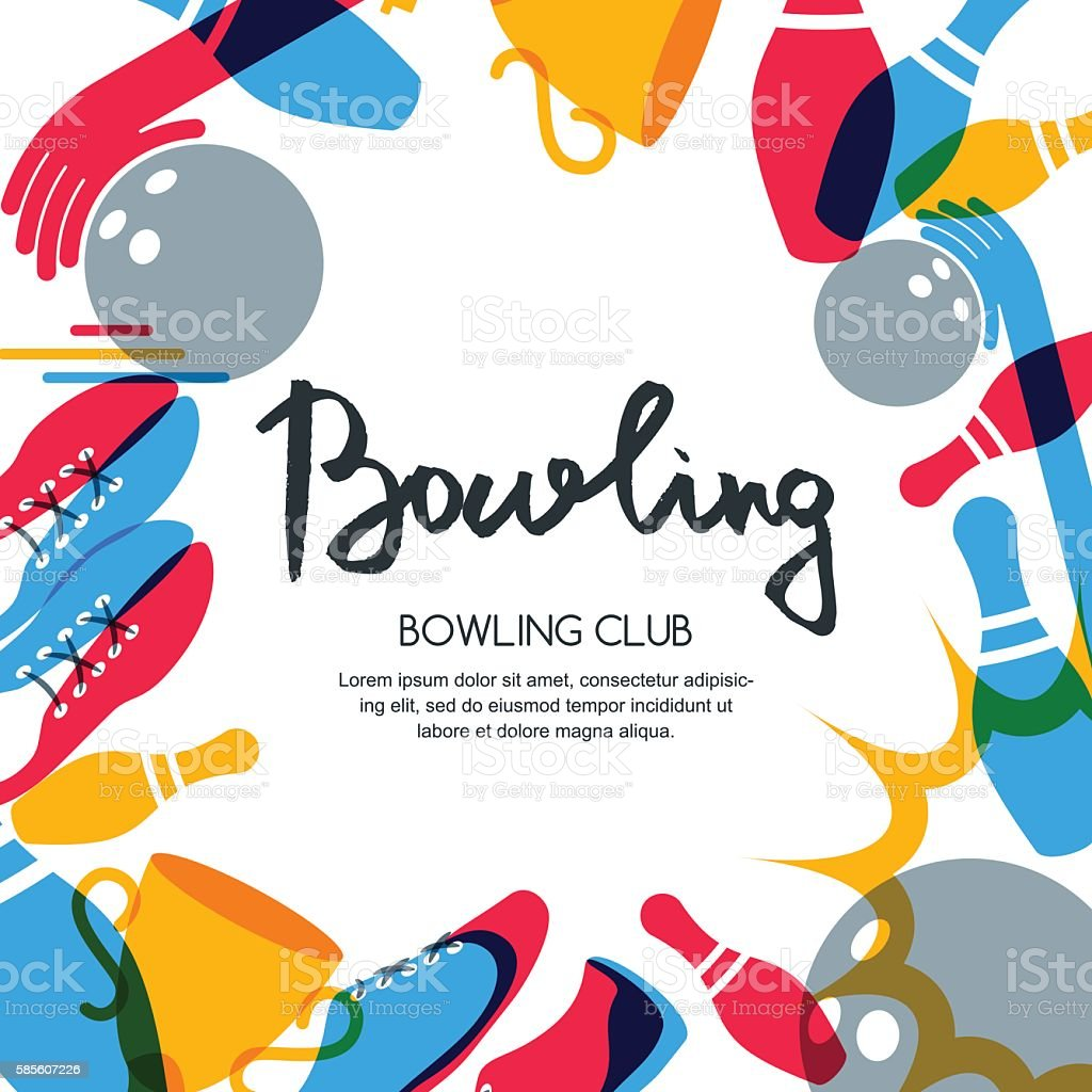 Vector bowling square banner, poster or flyer design template. vector art illustration