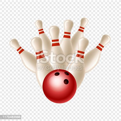 Vector bowling strike. Skittles and ball isolated on transparent background. Illustration skittles hobby, play activity