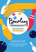 Vector bowling tournament banner, poster or flyer design template. Flat layout background with bowling ball in hand, pins and hand drawn calligraphy lettering. Abstract illustration of bowling game.