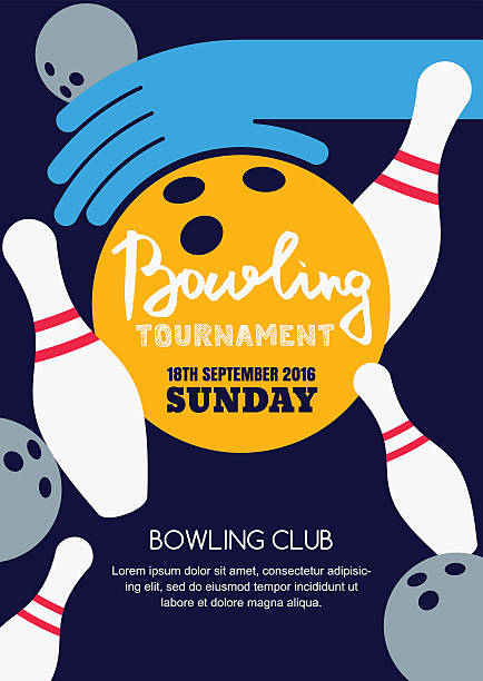 Vector bowling tournament banner, poster or flyer design template. vector art illustration