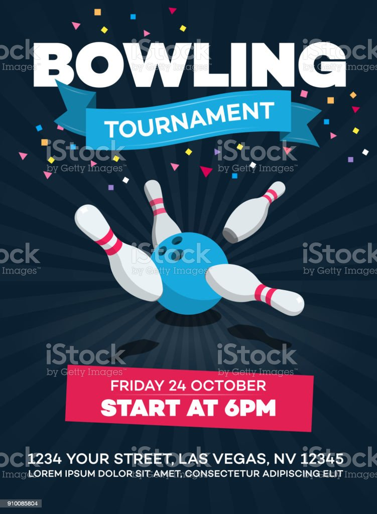 Vector bowling tournament poster with scattered skittle and bowling ball vector art illustration