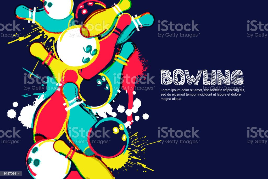 Vector bowling watercolor illustration. Balls and pins on colorful splash background. Design for banner, poster or flyer vector art illustration