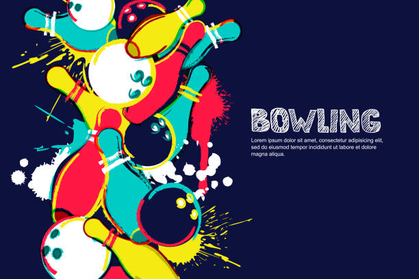Vector bowling watercolor illustration. Balls and pins on colorful splash background. Design for banner, poster or flyer Vector bowling horizontal dark background. Abstract watercolor illustration. Bowling ball, pins and sketched letters on colorful splash background. Design elements for banner, poster or flyer. ten pin bowling stock illustrations