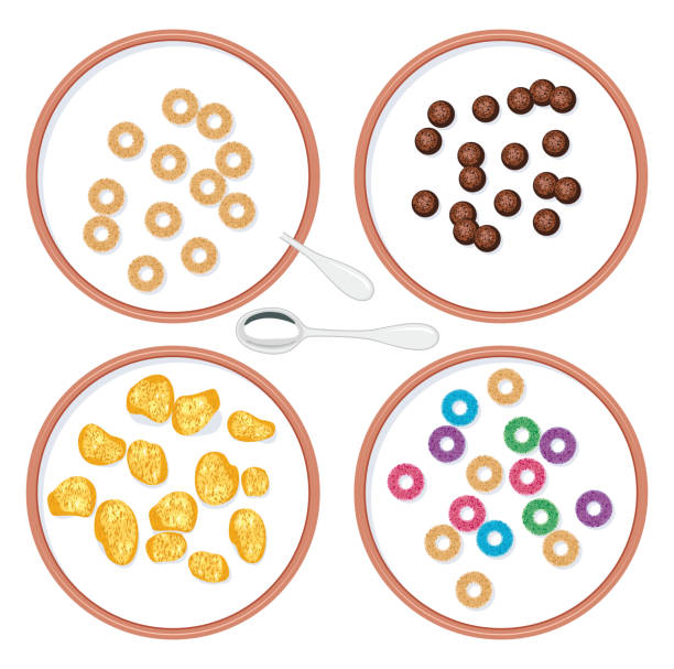 vector bowls with breakfast wholegrain cereal in milk vector top view set of bowls with breakfast wholegrain cereal in milk for kids cereal stock illustrations
