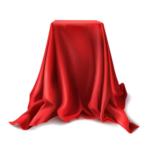 ilustrações de stock, clip art, desenhos animados e ícones de vector box covered with red silk cloth - surpresa