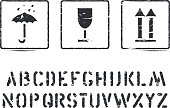 Standard cargo grunge box sign rubber stamps and alphabet for cargo, delivery and logistics. Fragile, this way up isolated. Vector illustration.